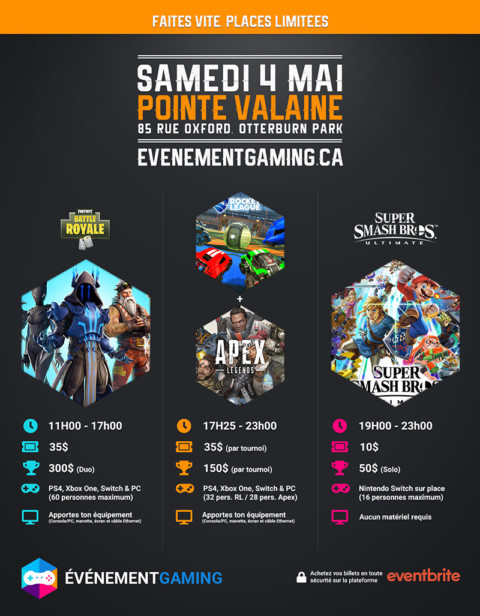 Événement Gaming présente : Fortnite, Rocket League & Super Smash Bros. Ultimate